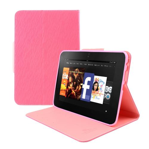 Hot Pink/ Baby Pink Faux Leather Diary Flip Case w/ ID Slots, Bill Fold, & Magnetic Closure for Amazon Kindle Fire HD 8.9