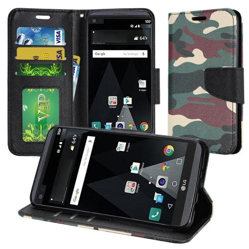 LG Aristo/ Fortune Case, Luxury Faux Leather Saffiano Texture Front Flip Cover Diary Wallet Case w/ Magnetic Flap [Military Camouflage]