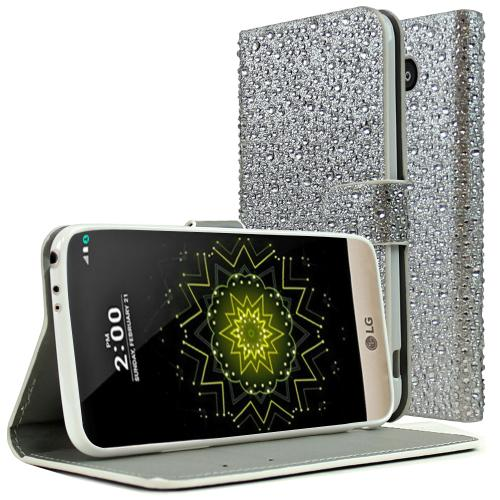 LG G5 Wallet Case, REDshield® [Silver Bling] Front Flip Cover with Built-in Card Slots, Magnetic Flap