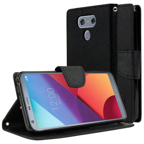 LG G6 Wallet Case, [Black] Kickstand Feature Luxury Faux Saffiano Leather Front Flip Cover with Built-in Card Slots, Magnetic Flap with Travel Wallet Phone Stand