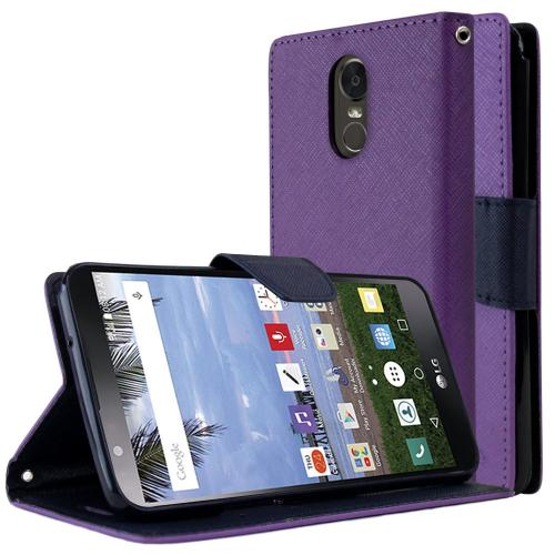 LG Stylo 3/ 3 Plus Diary Case, [Purple/ Blue] Kickstand Feature Luxury Faux Saffiano Leather Front Flip Cover with Built-in Card Slots, Magnetic Flap Travel Wallet Phone Stand