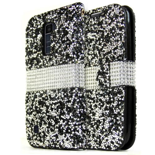 LG K10 Wallet Case, REDshield [Black Shiny Sparkling Gem w/ Silver] Kickstand Feature Luxury Faux Saffiano Leather Front Flip Cover with Built-in Card Slots, Magnetic Flap