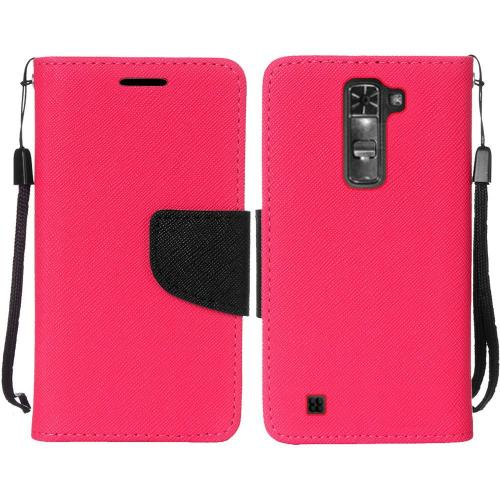 LG K7/ LG Tribute 5 Case,  [Hot Pink]  Kickstand Feature Luxury Faux Saffiano Leather Front Flip Cover with Built-in Card Slots, Magnetic Flap