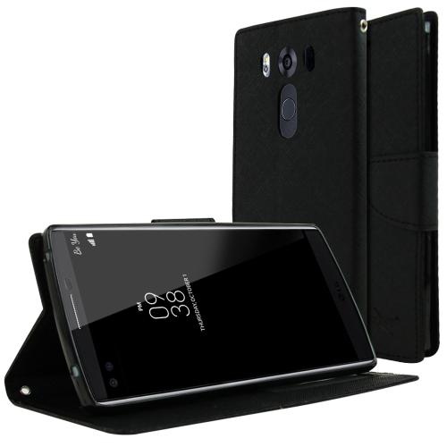 LG V10 Case,  [Black]  Kickstand Feature Luxury Faux Saffiano Leather Front Flip Cover with Built-in Card Slots, Magnetic Flap
