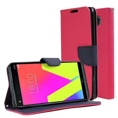 LG V20 Diary Case, REDshield [Hot Pink] Kickstand Feature Luxury Faux Saffiano Leather Front Flip Cover with Built-in Card Slots, Magnetic Flap