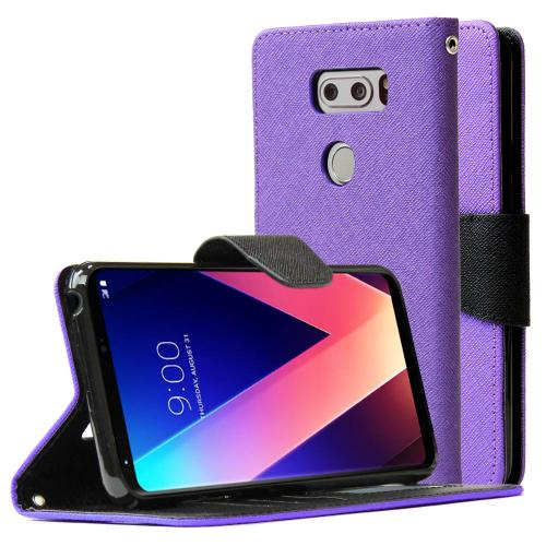 LG V30 Diary Case, REDshield [Purple] Kickstand Feature Luxury Faux Saffiano Leather Front Flip Cover with Built-in Card Slots, Magnetic Flap