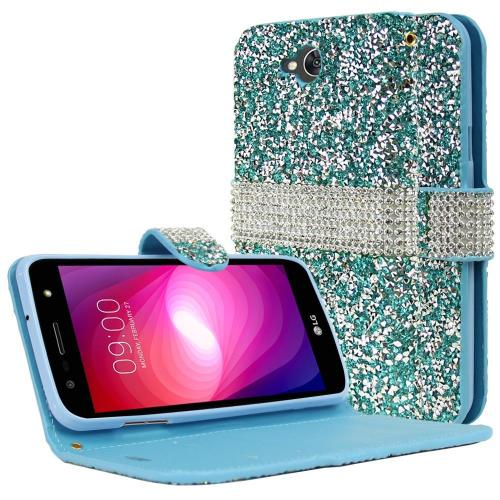 LG X Power 2/ X Charge Wallet Case, REDshield [Mint Shiny Sparkling Gem w/ Silver] Kickstand Feature Luxury Faux Saffiano Leather Front Flip Cover with Built-in Card Slots, Magnetic Flap with Travel Wallet Phone Stand