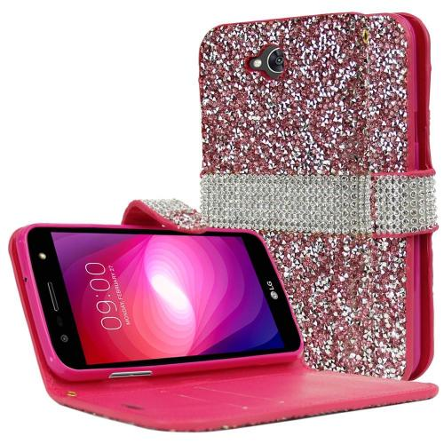 LG X Power 2/ X Charge Wallet Case, REDshield [Pink Shiny Sparkling Gem w/ Silver] Kickstand Feature Luxury Faux Saffiano Leather Front Flip Cover with Built-in Card Slots, Magnetic Flap with Travel Wallet Phone Stand