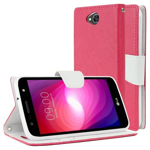LG X Power 2/ X Charge Wallet Case, [Hot Pink/ White] Kickstand Feature Luxury Faux Saffiano Leather Front Flip Cover with Built-in Card Slots, Magnetic Flap with Travel Wallet Phone Stand