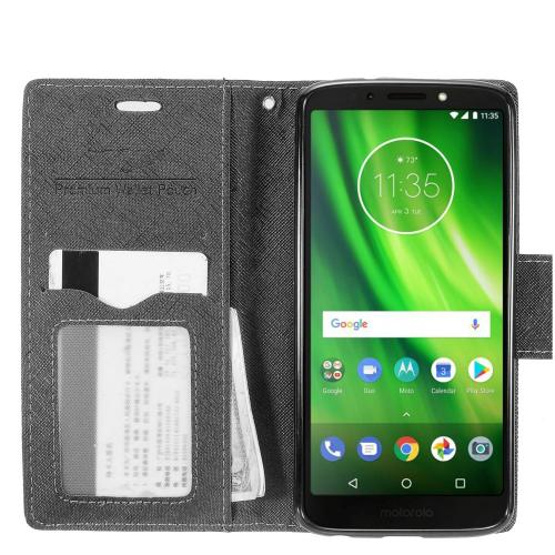 RED SHIELD Motorola Moto G6 (2018) Faux Leather Wallet Case, Front Flip Case with Card Holders, Cash Pocket and Wristlet [Black]