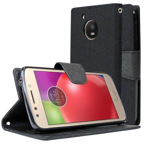 Motorola Moto E4 Wallet Case, [Black] Kickstand Feature Luxury Faux Saffiano Leather Front Flip Cover with Built-in Card Slots, Magnetic Flap