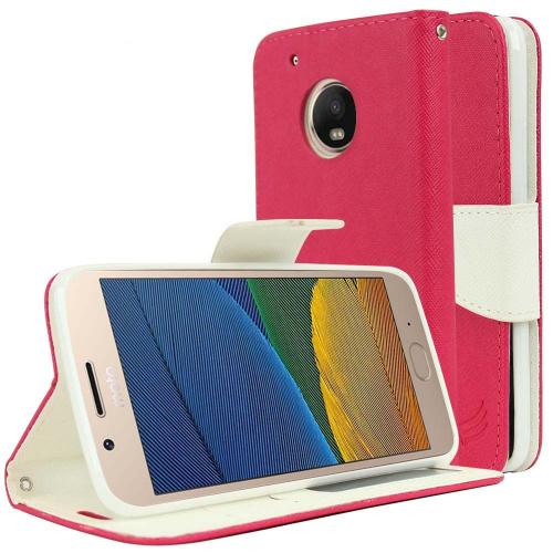 Motorola Moto G5 Plus Wallet Case, [Hot Pink/ White] Kickstand Feature Luxury Faux Saffiano Leather Front Flip Cover with Built-in Card Slots, Magnetic Flap with Travel Wallet Phone Stand