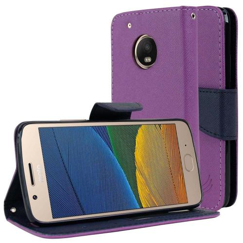 Motorola Moto G5 Plus Wallet Case, [Purple/ Navy] Kickstand Feature Luxury Faux Saffiano Leather Front Flip Cover with Built-in Card Slots, Magnetic Flap with Travel Wallet Phone Stand