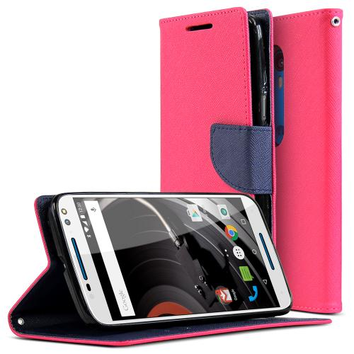 Motorola Moto X Pure Edition Case, [Hot Pink/ Navy] Faux Leather Front Flip Cover Diary Wallet Case w/ Magnetic Flap