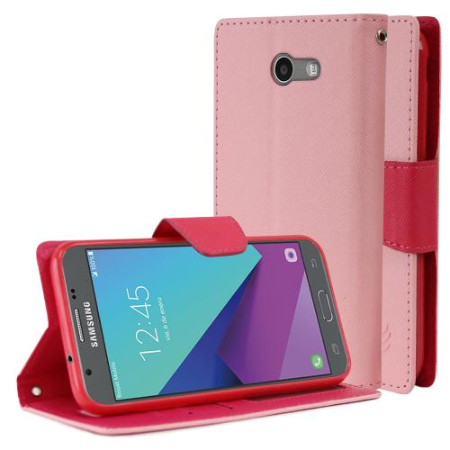 Samsung Galaxy J3 Emerge Diary Case, [Baby Pink/ Hot Pink] Kickstand Feature Luxury Faux Saffiano Leather Front Flip Cover with Built-in Card Slots, Magnetic Flap with Travel Wallet Phone Stand