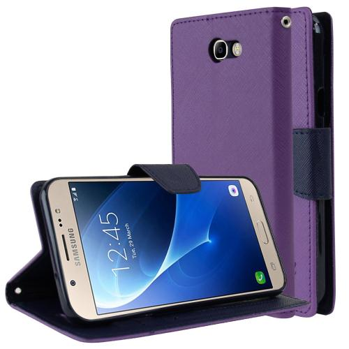 Samsung Galaxy J7 [2017]/ Galaxy J7 Perx/ J7 V/ Galaxy Halo Wallet Case, [Purple/ Navy] Kickstand Feature Luxury Faux Saffiano Leather Front Flip Cover with Built-in Card Slots, Magnetic Flap with Travel Wallet Phone Stand