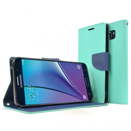 Samsung Galaxy Note 5, [Mint]  Kickstand Feature Luxury Faux Saffiano Leather Front Flip Cover with Built-in Card Slots, Magnetic Flap