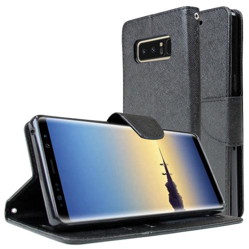 [REDshield] Samsung Galaxy Note 8 Diary Case, [Black] Kickstand Luxury Faux Saffiano Leather Front Flip Cover W/ Built-in Card Slots, Magnetic Flap
