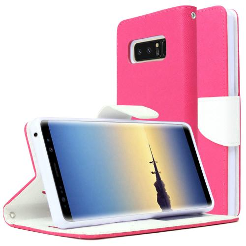 [REDshield] Samsung Galaxy Note 8 Diary Case, [Hot Pink] Kickstand Luxury Faux Saffiano Leather Front Flip Cover W/ Built-in Card Slots, Magnetic Flap