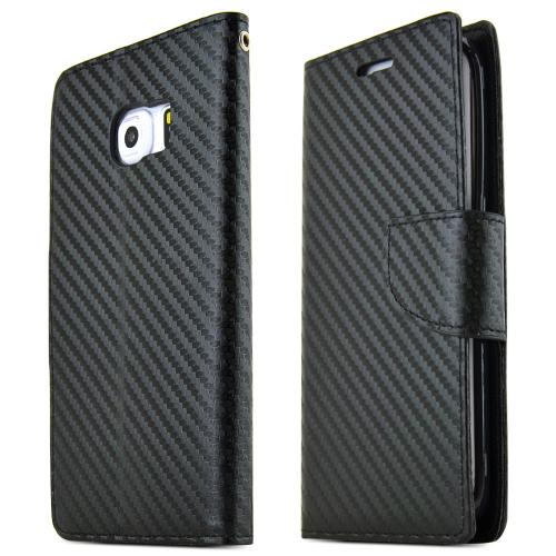 Samsung Galaxy S6 Case,  [Black Carbon Fiber]  Kickstand Feature Luxury Faux Saffiano Leather Front Flip Cover with Built-in Card Slots, Magnetic Flap