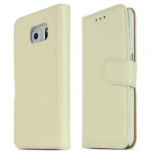 Samsung Galaxy S6 Case,  [Cream White]  Kickstand Feature Luxury Faux Saffiano Leather Front Flip Cover with Built-in Card Slots, Magnetic Flap