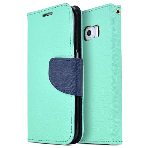 Samsung Galaxy S6 Edge Case,  [Mint]  Kickstand Feature Luxury Faux Saffiano Leather Front Flip Cover with Built-in Card Slots, Magnetic Flap