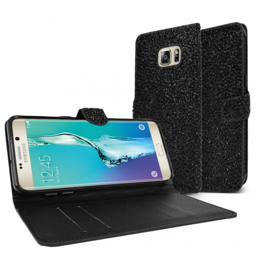 Samsung Galaxy S6 Edge Plus,  [BLING Black]  Kickstand Feature Luxury Faux Saffiano Leather Front Flip Cover with Built-in Card Slots, Magnetic Flap