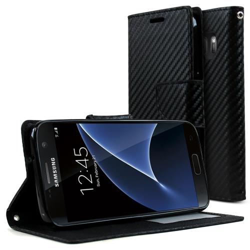 Samsung Galaxy S7 Case, REDshield [Carbon Fiber Design]  Kickstand Feature Luxury Faux Saffiano Leather Front Flip Cover with Built-in Card Slots, Magnetic Flap