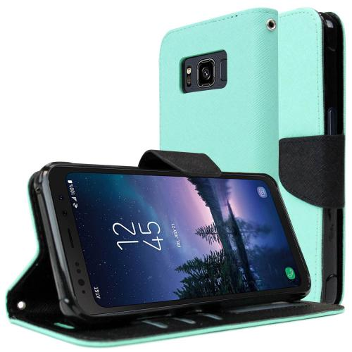 [REDshield] Samsung Galaxy S8 Active Diary Case, [Mint] Kickstand Luxury Faux Saffiano Leather Front Flip Cover W/ Built-in Card Slots, Magnetic Flap
