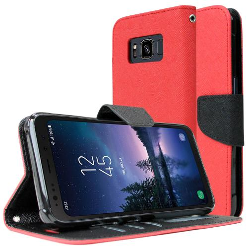 [REDshield] Samsung Galaxy S8 Active Diary Case, [Red] Kickstand Luxury Faux Saffiano Leather Front Flip Cover W/ Built-in Card Slots, Magnetic Flap