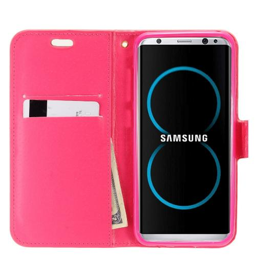 Samsung Galaxy S8 Wallet Case, REDshield [Hot Pink Shiny Sparkling Gem w/ Silver] Kickstand Feature Luxury Faux Saffiano Leather Front Flip Cover with Built-in Card Slots, Magnetic Flap with Travel Wallet Phone Stand