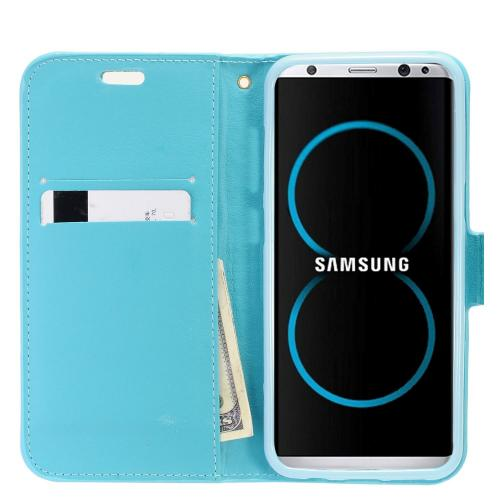 Samsung Galaxy S8 Wallet Case, REDshield [Mint Shiny Sparkling Gem w/ Silver] Kickstand Feature Luxury Faux Saffiano Leather Front Flip Cover with Built-in Card Slots, Magnetic Flap with Travel Wallet Phone Stand