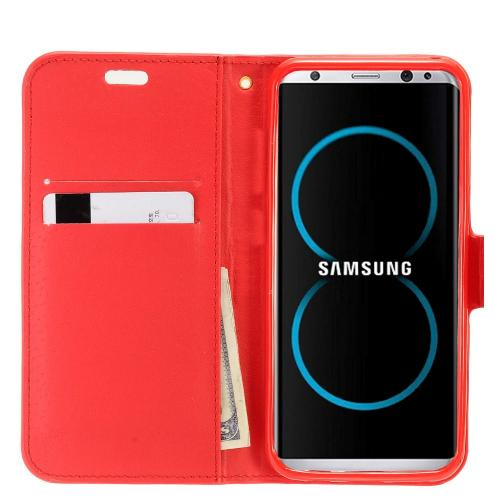 Samsung Galaxy S8 Wallet Case, REDshield [Red Shiny Sparkling Gem w/ Silver] Kickstand Feature Luxury Faux Saffiano Leather Front Flip Cover with Built-in Card Slots, Magnetic Flap with Travel Wallet Phone Stand
