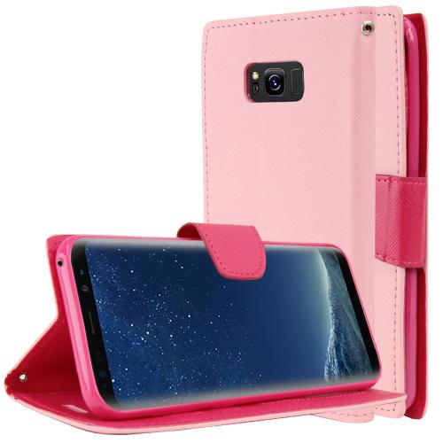 Samsung Galaxy S8 Wallet Case, [Baby Pink/ Hot Pink] Kickstand Feature Luxury Faux Saffiano Leather Front Flip Cover with Built-in Card Slots, Magnetic Flap with Travel Wallet Phone Stand