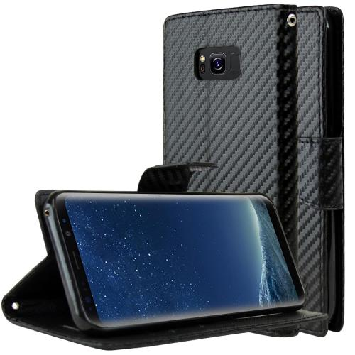 Samsung Galaxy S8 Wallet Case, [Carbon Fiber Design] Kickstand Feature Luxury Faux Saffiano Leather Front Flip Cover with Built-in Card Slots, Magnetic Flap with Travel Wallet Phone Stand