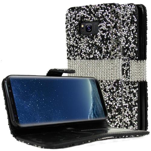 Samsung Galaxy S8 Plus Wallet Case, REDshield [Black Shiny Sparkling Gem w/ Silver] Kickstand Feature Luxury Faux Saffiano Leather Front Flip Cover with Built-in Card Slots, Magnetic Flap with Travel Wallet Phone Stand