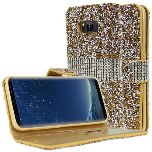 Samsung Galaxy S8 Plus Wallet Case, REDshield [Gold Shiny Sparkling Gem w/ Silver] Kickstand Feature Luxury Faux Saffiano Leather Front Flip Cover with Built-in Card Slots, Magnetic Flap with Travel Wallet Phone Stand