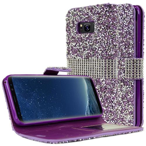 Samsung Galaxy S8 Plus Wallet Case, REDshield [Purple Shiny Sparkling Gem w/ Silver] Kickstand Feature Luxury Faux Saffiano Leather Front Flip Cover with Built-in Card Slots, Magnetic Flap with Travel Wallet Phone Stand
