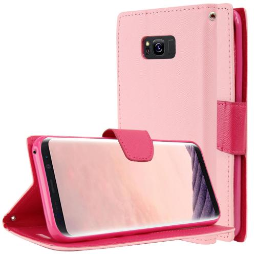Samsung Galaxy S8 Plus Wallet Case, [Baby Pink/ Hot Pink] Kickstand Feature Luxury Faux Saffiano Leather Front Flip Cover with Built-in Card Slots, Magnetic Flap with Travel Wallet Phone Stand