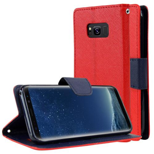 Samsung Galaxy S8 Wallet Case, [Red/ Navy] Kickstand Feature Luxury Faux Saffiano Leather Front Flip Cover with Built-in Card Slots, Magnetic Flap with Travel Wallet Phone Stand