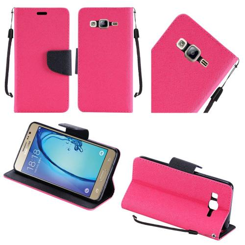 Samsung Galaxy On5 Case, Luxury Faux Leather Saffiano Texture Front Flip Cover Diary Wallet Case w/ Magnetic Flap [Hot Pink/ Black]