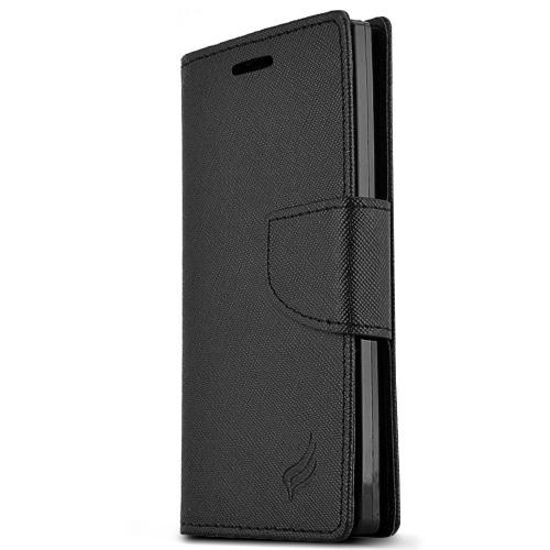 Sharp Aquos Crystal Wallet Case [black] Slim & Protective Flip Cover Diary Case W/ Id Slots, Magnetic Flap Closure - Keep Everything In One Place!
