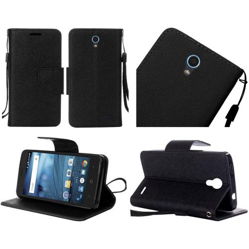 ZTE Avid Trio Case, Luxury Faux Leather Saffiano Texture Front Flip Cover Diary Wallet Case w/ Magnetic Flap [Black]