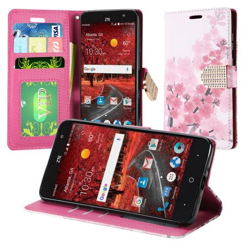 ZTE Grand X 4 Case, Luxury Faux Leather Saffiano Texture Front Flip Cover Diary Wallet Case w/ Magnetic Flap [Sakura Cherry Blossom]