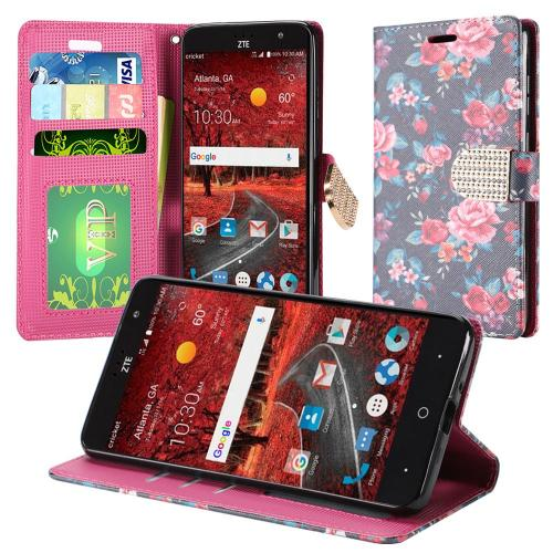 ZTE Grand X 4 Case, Luxury Faux Leather Saffiano Texture Front Flip Cover Diary Wallet Case w/ Magnetic Flap [Tropical Colorful Roses]