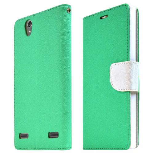 ZTE Lever Z936L Case, [AQUA BLUE] Faux Leather Front Flip Cover Diary Wallet Case w/ Magnetic Flap
