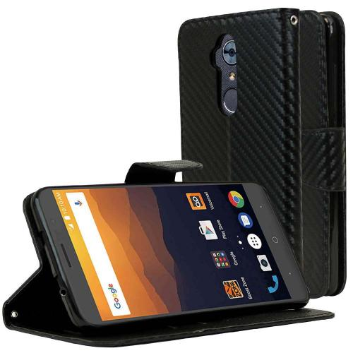 ZTE Max XL Diary Case, [Carbon Fiber Design] Kickstand Feature Luxury Faux Saffiano Leather Front Flip Cover with Built-in Card Slots, Magnetic Flap with Travel Wallet Phone Stand
