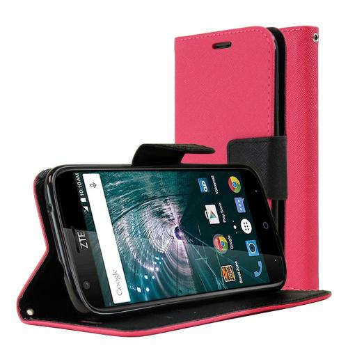 [ZTE Warp 7] Diary Case, REDshield [Hot Pink] Kickstand Feature Luxury Faux Saffiano Leather Front Flip Cover with Built-in Card Slots, Magnetic Flap with Travel Wallet Phone Stand