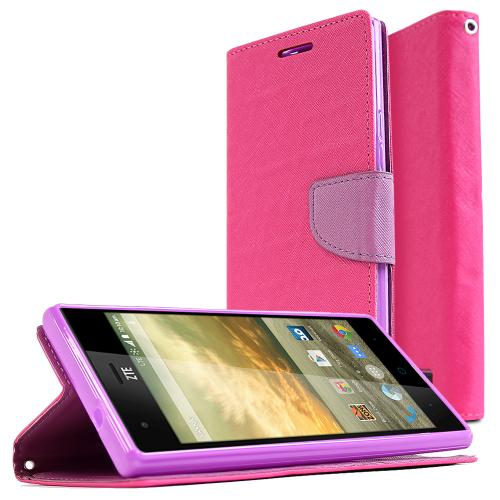 ZTE Warp Elite Wallet Case [Hot Pink/ Purple] Featuring Faux Leather Flip Cover, ID Slots, Bill Fold & Snap Close Magnet