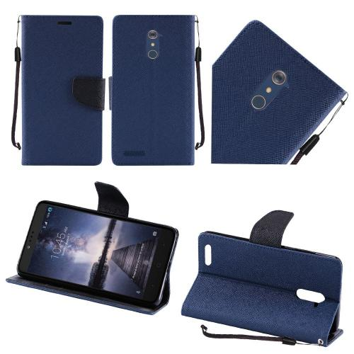 ZTE Z Max Pro Case, Luxury Faux Leather Saffiano Texture Front Flip Cover Diary Wallet Case w/ Magnetic Flap [Navy/ Black]